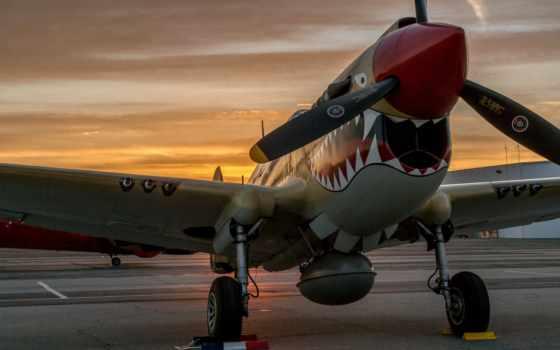 warhawk, истребитель, аэродром,