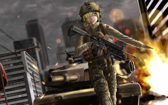 battlefield, anime, девушка, огонь,