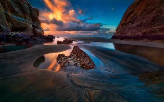море, clouds, небо, rocks, закат, со, природа, resolution,