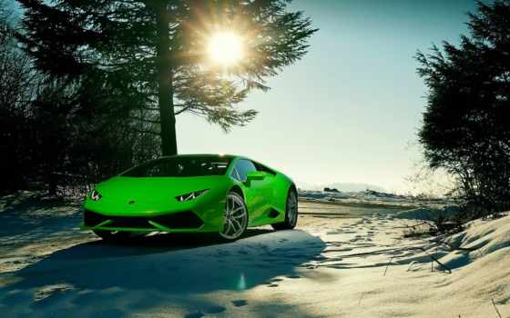 lamborghini, huracan, car, black,