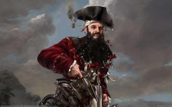 борода, черная, creed, пиратский, black, тич, edward, assassin, флаг, был,