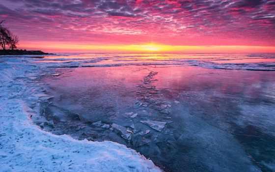 закат, winter, лед, холод, озеро, снег, sun,