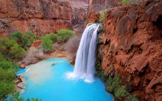 havasu, falls, водопады, америки, сша, arizona, соединенные,