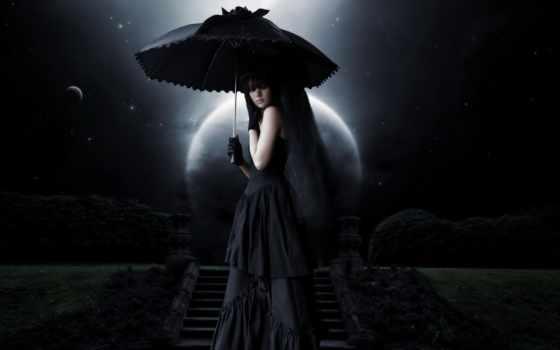 девушка, зонтом, под, полной, gothic, луны, свете, devushki, платье, cosmos, злой,