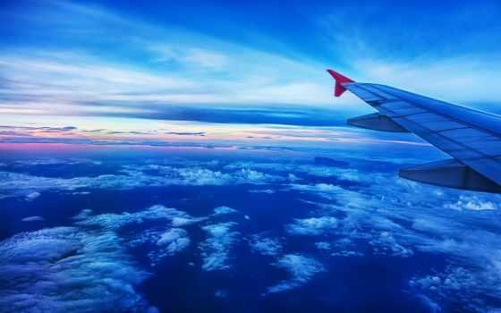 oblaka, airplane, небо, крыло, самолёт, plane, clouds,
