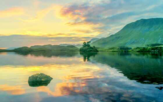 краска, небо, гора, облако, озеро