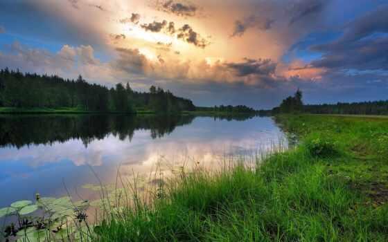 река, побережье, лес, закат, красивый, небо, отражение, москва, трава, region, площадь