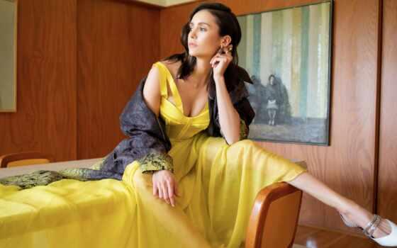 nina, yellow, платье, актриса, девушка, brunette, mobile