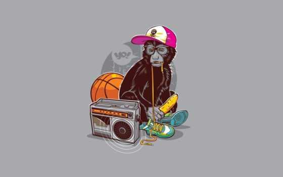 обезьяна, магнитофон, кроссовки, минимализм, банан, иллюстратор, ля, энжи,