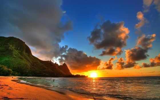 landscape, закат, пляж