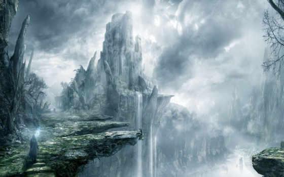 break, скалы, водопад, castle, лес, art, маг, путник, fortress,