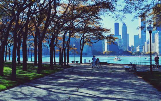 chicago, город, небоскребы