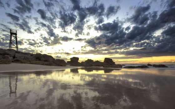 пляж, австралия, ньюкасл, sharktower, redhead, ocean,