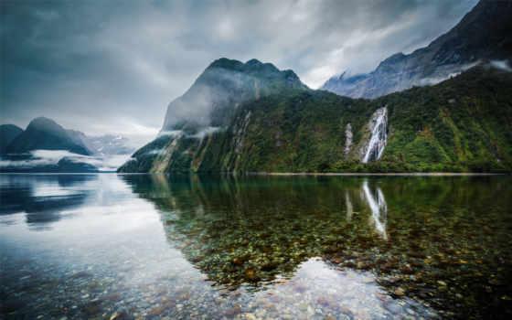 zealand, новая, горы, озеро, new, зеландии, новую, новой,