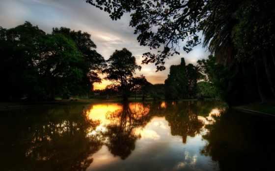 закат, река, отражение, trees, природа, вечер, вечерняя,