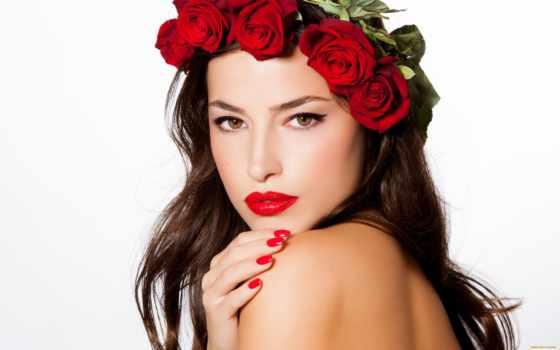 девушка, макияж, роза,