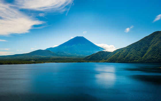 небо, trees, scenery, mountains, water, blue, природа, ocean,