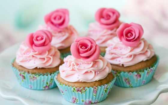 капкейки, cvety, маффины, цветами, торты, капкейков, rub, телефона, розовыми, нежно,