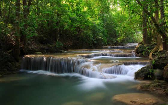 река, лес, деревья, зелень, водопады, таиланд, картинку, каскад, картинка,