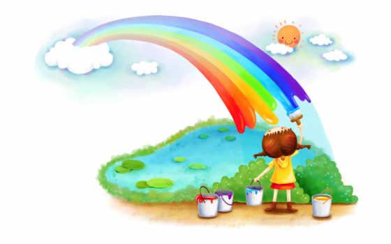 нарисованные, радуга, девочка, краски, пруд, солнце, небо, облака