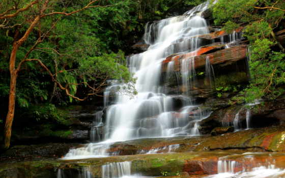 природа, водопад, река