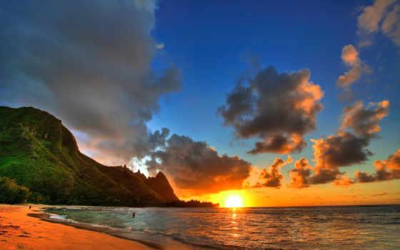 пляж, sun, море, горы, desktop, тучи, hawaii, красавица,