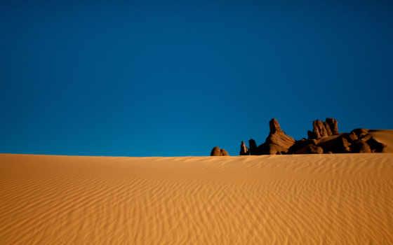 пустыня, песок, небо, камни, сахара, алжир, природа,