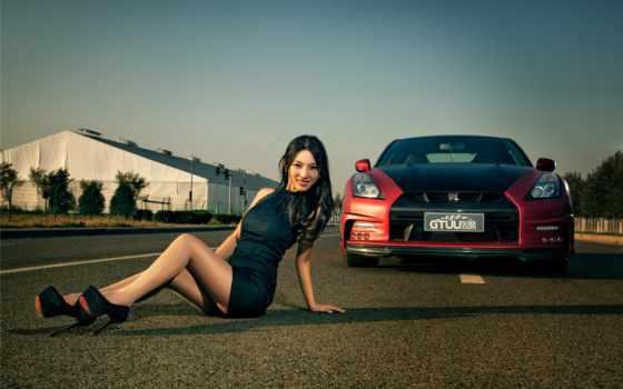 hot, car, девушка, nissan, плакат, korean, asian, модель, cars,