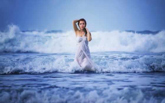 девушка, море, девушек, фотосессия, ocean, воде, waves,