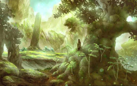 дерево, anime, лес, девушка, stand, смотреть, заросший, idol, мужчина