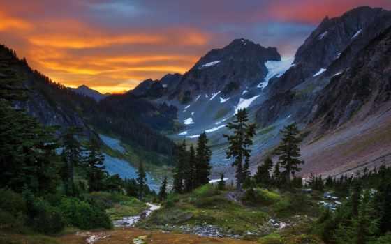 гора, восход, дерево, park, national, mount, природа, трава, озеро, rainy, design