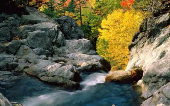 водопад, камень, гора, new, white, iguasti, fore, hampshire