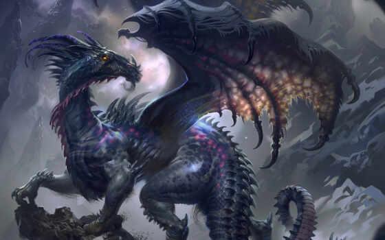 дракон, черный, драконы
