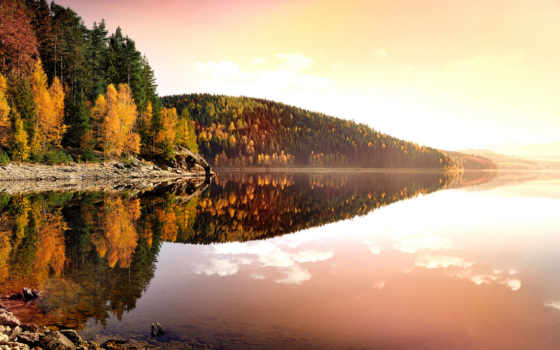 сень, озеро, природа, горы, лес, берег, вода, отражение, утро, красиво