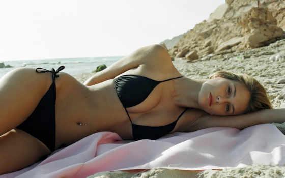 широкоформатные, пляже, девушки