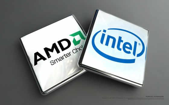 amd, intel, процессоры, лого, 3Д, прямоугольный