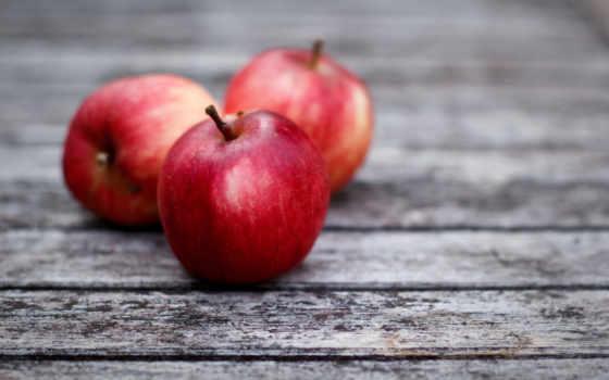 красные, яблоки, фрукты