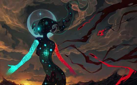 абстракция, оптом, модульные, девушка, картины, стрелок, купить, fantasy, cosmos, луна,
