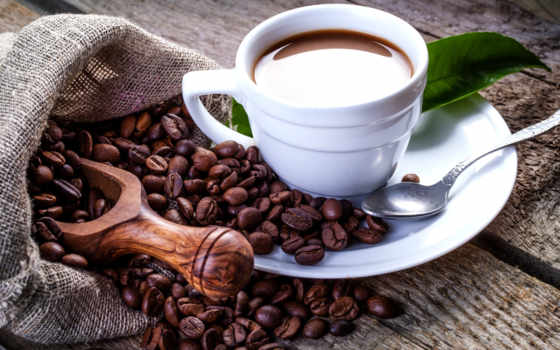 , кофе, зерна, чашка, ложка,