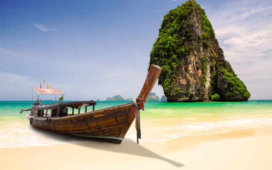 thai, таиланд, лодка, острова, пханг, nga, широкоформатные, bay, krabi,