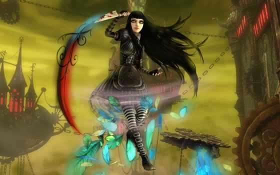 алиса, стране, чудес, madness, returns, castle, wonderland, кошмаров, нож,