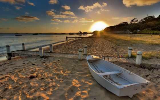 закат, море, берег, пляж, песок, лодка, берегу, диск, свет,
