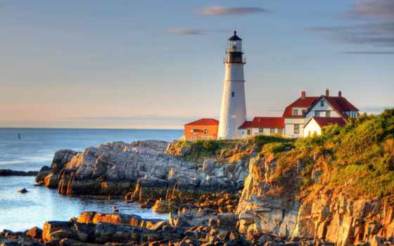 lighthouse, море, house, небо, cape, сша, rock, закат, камни, portland, oregon,