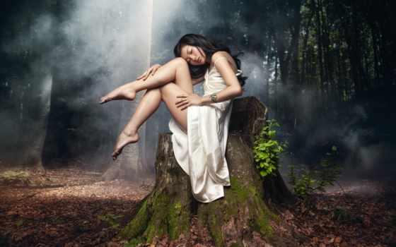 deviantart, сидит, девушка, туманном, лесу, coughlan, nigel, hash, girlinwater, land,