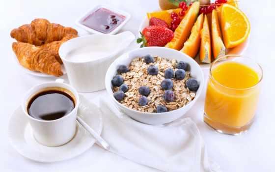 завтрак, мюсли, еда, juice, coffee, фрукты, клубника, milk, ягоды, круассаны, круассаны,