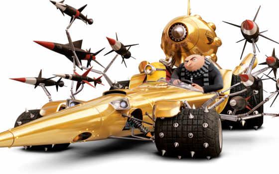 гадкий, миньоны, despicable, заказать, cartoon, фоны, ракеты, гру, машина, car,