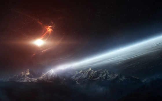 горы, сияние, свет