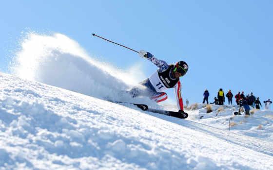 гора, снег,лыжник,спуск,