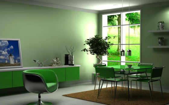 кухни, цвете, зеленом