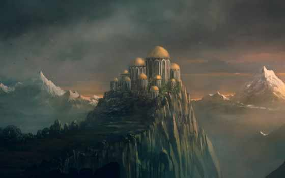 break, art, скалы, landscape, горы, building, копола, peak, branch,